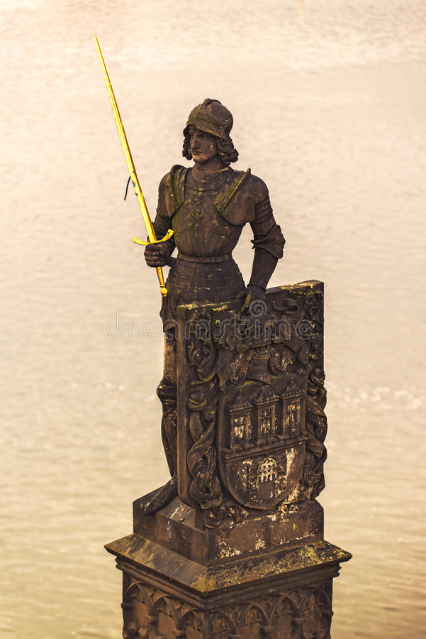 Statue Ritter-Brunswick (Bruncvik) auf Charles Bridge in Prag lizenzfreie stockfotos