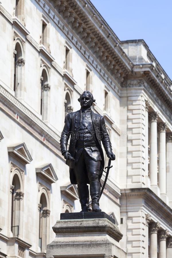 Statue of Robert Clive, British officer, Westminster, London, United Kingdom royalty free stock images