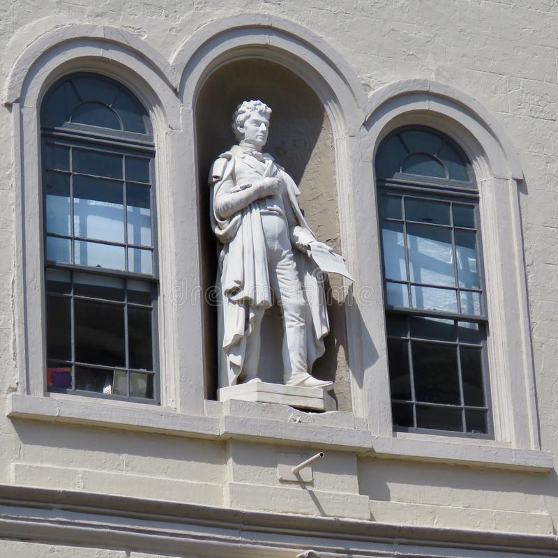 Statue of Robert Fulton at the Fulton Theatre, located in downtown Lancaster. PA. Lancaster, PA, USA - April 23, 2019: Statue of Robert Fulton on the facade of royalty free stock photos