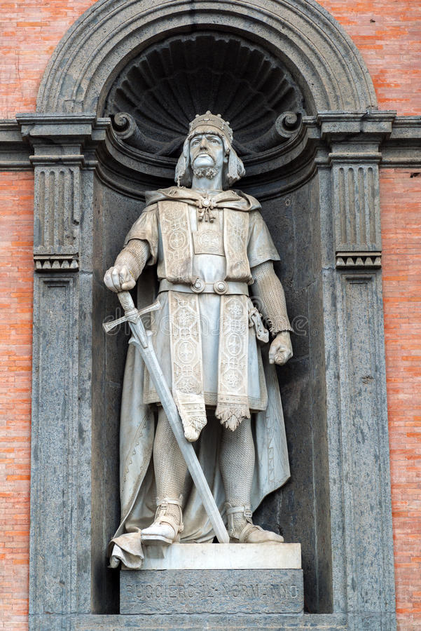 Statue of Roger the Norman in the Royal Palace of Naples, Italy royalty free stock images