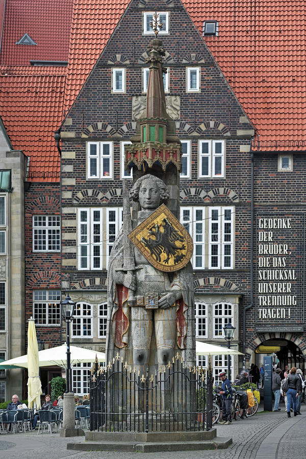 Statue of Roland on the market square of Bremen, Germany royalty free stock photography