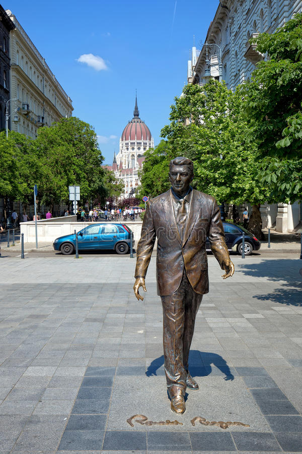 Statue of Ronald Reagan in Budapest, Hungary royalty free stock image