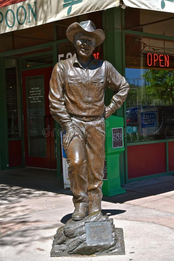 Statue of Ronald Reagan downtown Rapid City stock images