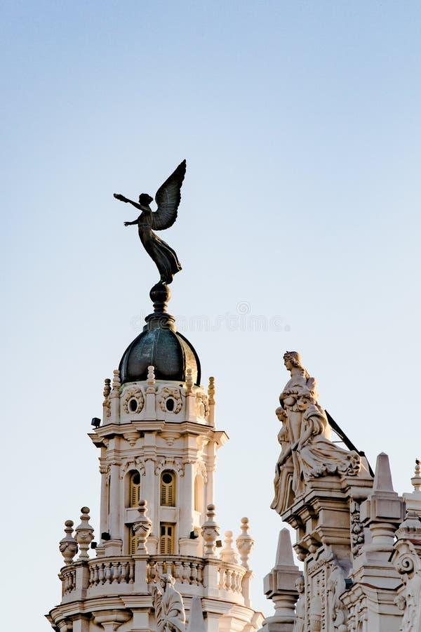 Angel on Dome of historic Building of Grand Theatre, Havana, Habana Vieja, Cuba stock image
