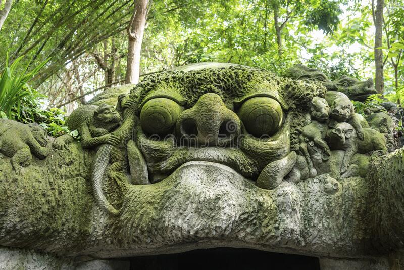 Statue in Sacred Monkey Forest, Ubud, Bali, Indonesia. Statue in Sacred Monkey Forest, Ubud, Bali, Indonesia royalty free stock photography