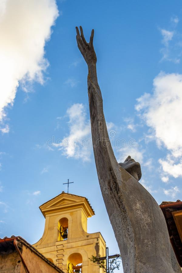 Statue of Saint Francis of Assisi in Rome, Italy royalty free stock photography