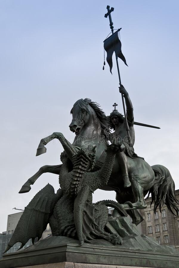 Statue of Saint George slaying the dragon royalty free stock image