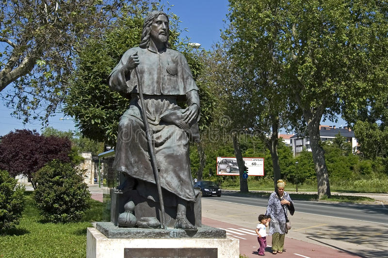Statue of Saint James in Burgos, camino Frances. Spain, Burgos Province, Autonomous community Castile and Leon, city of Burgos, in a suburb of the city is on the royalty free stock photo