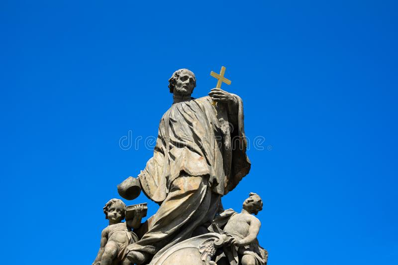 Statue of Saint Jan Sarkander, Fulnek, Czech / Republic / Czechia. Statue of Saint Jan Sarkander, Fulnek, Czech Republic / Czechia - religious christian monuemnt stock images
