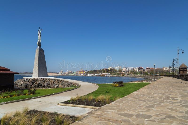 Statue of Saint Nicholas on Bulgarian Black Sea coast stock images