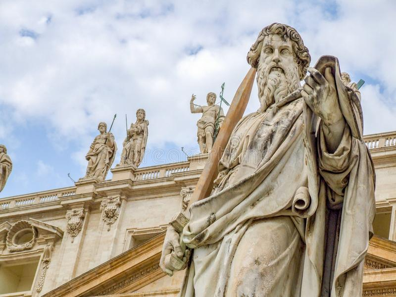 Statue of Saint Paul the Apostle in Vatican royalty free stock image