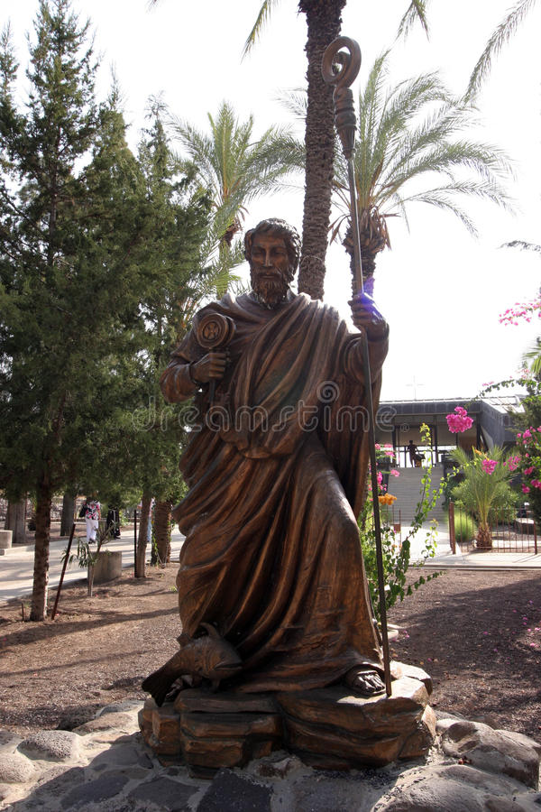 The statue of Saint Peter in Capharnaum royalty free stock images