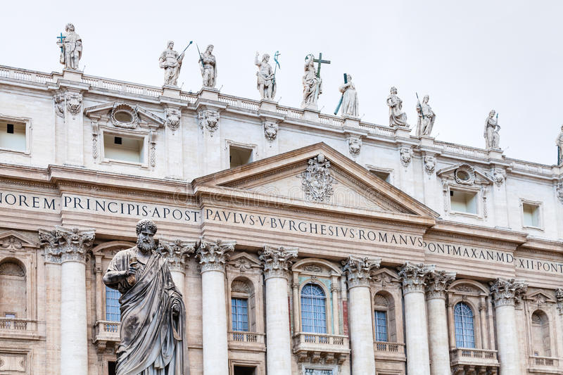 Statue Saint Peter in front of St Peter`s Basilica. Travel to Italy - Statue Saint Peter in front of St Peter`s Basilica on piazza San Pietro in Vatican city stock photography