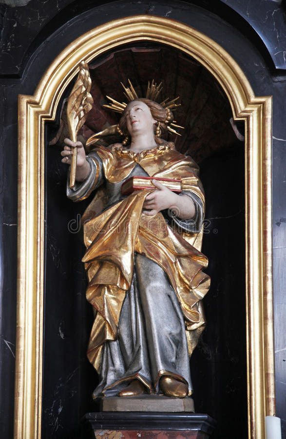Statue of Saint, Sanctuary of St. Agatha in Schmerlenbach. Germany on July 19, 2013 royalty free stock image