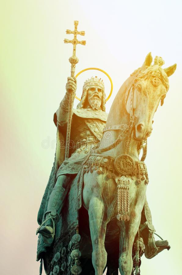Statue of Saint Stephen I - the first king of Hungary in Budapest Hungary stock photos