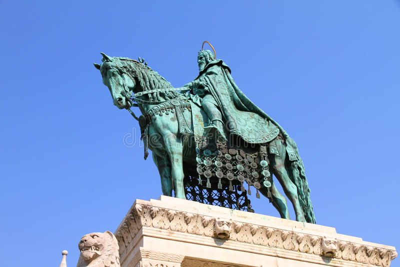 Statue of Saint Steven I. (Szent Istvan) in the Fisher Bastion of Budapest, Hungary stock photos