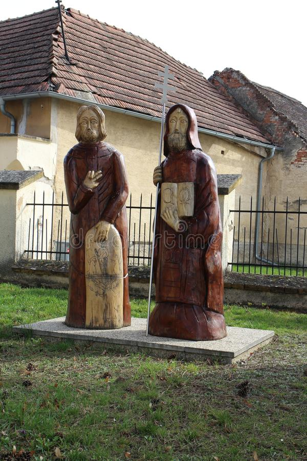 Statue of Saints Cyril and Methodius in ÄŒachtice village royalty free stock image