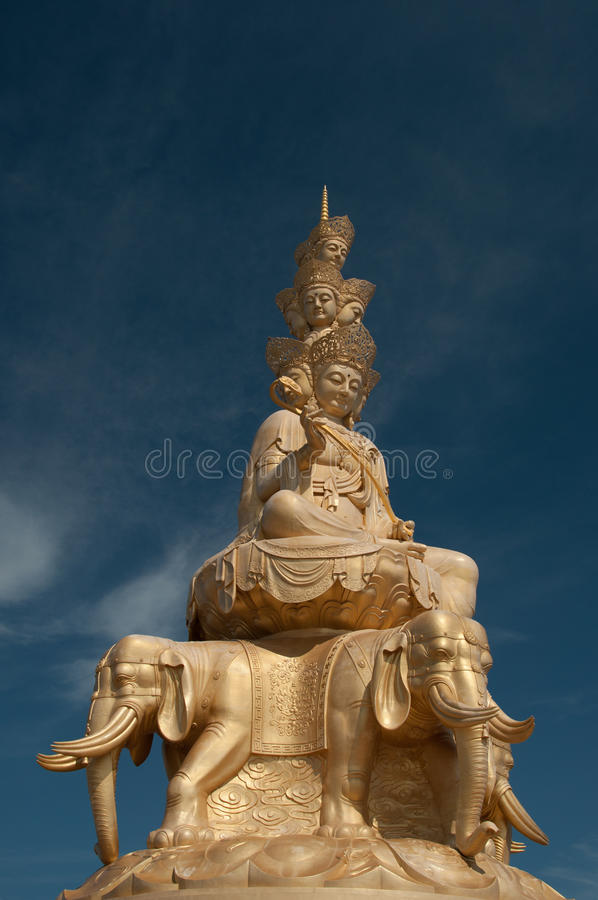 Statue of Samantabhadra Bodhisattva on Mount Emei royalty free stock photos
