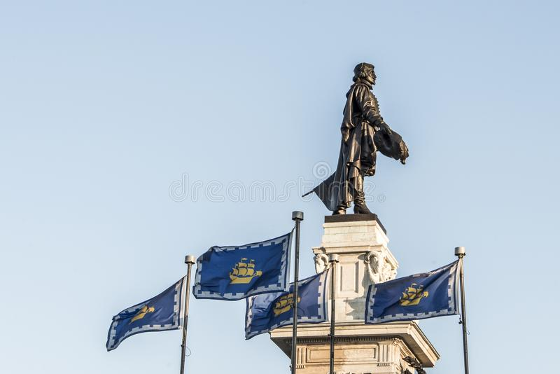 Statue of Samuel de Champlain against blue summer sky in historic area founder of Quebec City, Canada. Statue of Samuel de Champlain against blue summer sky in royalty free stock image