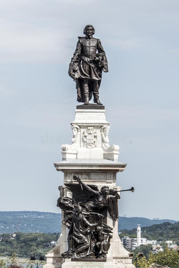 Statue of Samuel de Champlain against blue summer sky in historic area founder of Quebec City, Canada. Statue of Samuel de Champlain against blue summer sky in stock image
