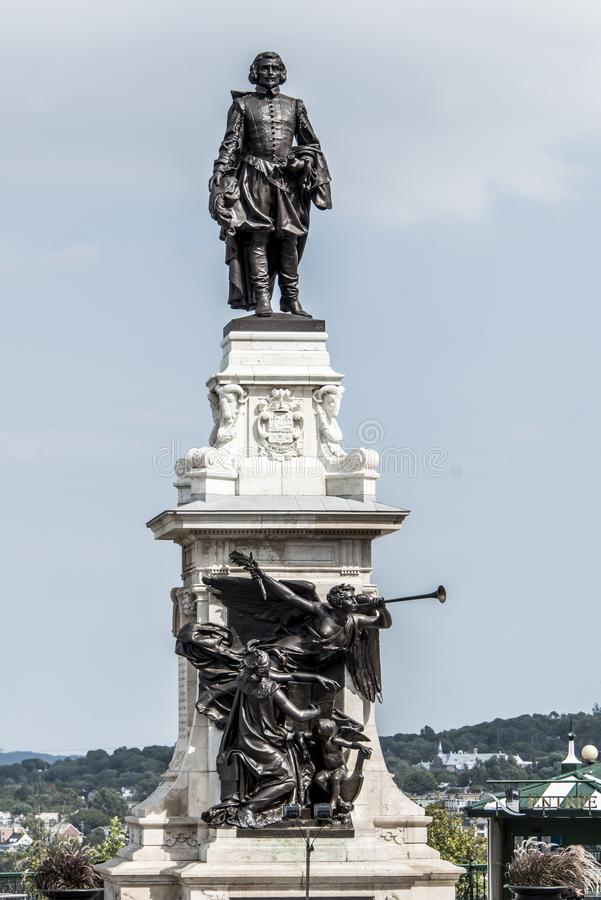 Statue of Samuel de Champlain against blue summer sky in historic area founder of Quebec City, Canada. Statue of Samuel de Champlain against blue summer sky in stock photo