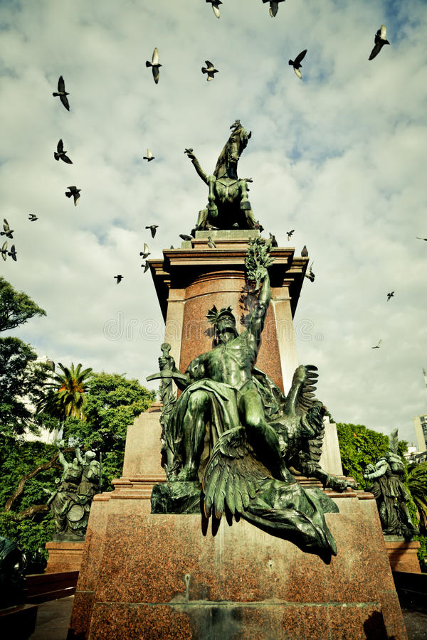 Statue of San Martín in Buenos Aires royalty free stock photo