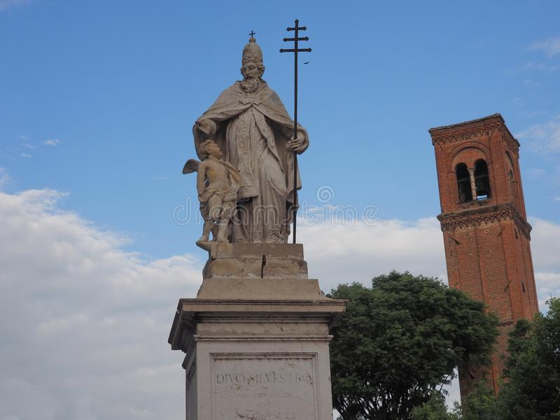 Statue of San Silvestro in Belfiore square, Mantua, Italy stock image