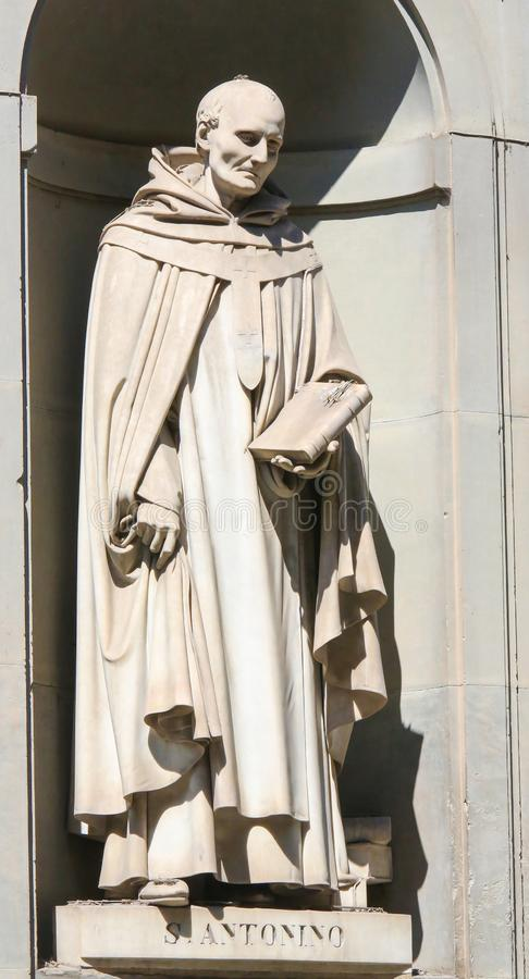 Statue of Sant Antonino in Uffizi Colonnade, Florence royalty free stock photo