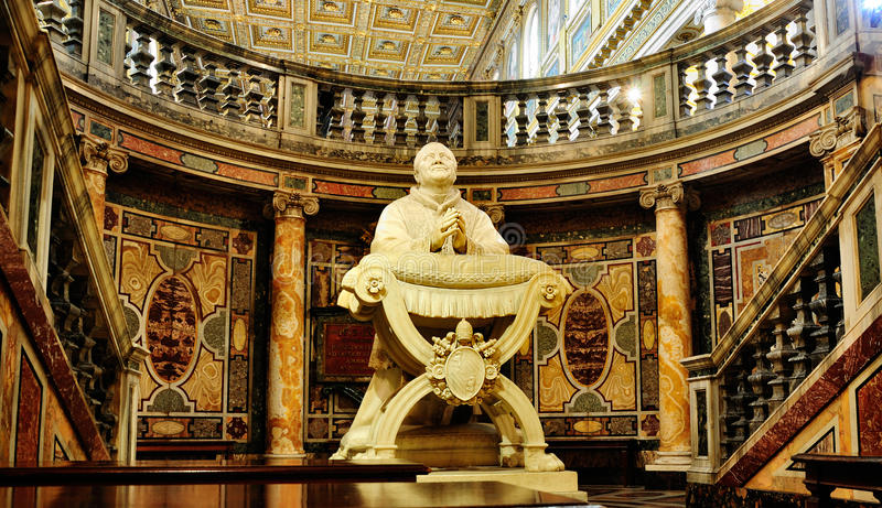 Statue in the Santa Maria Maggiore. This picture was taken inside the Santa Maria Maggiore in Rome, Italy stock images