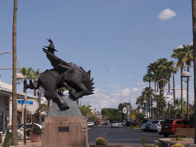 Statue in Scottsdale in Arizona on the outskirts of Phoenix. Scottsdale is in Arizona on the outskirts of Phoenix and the old Town is a reminder of the Wild West royalty free stock photos