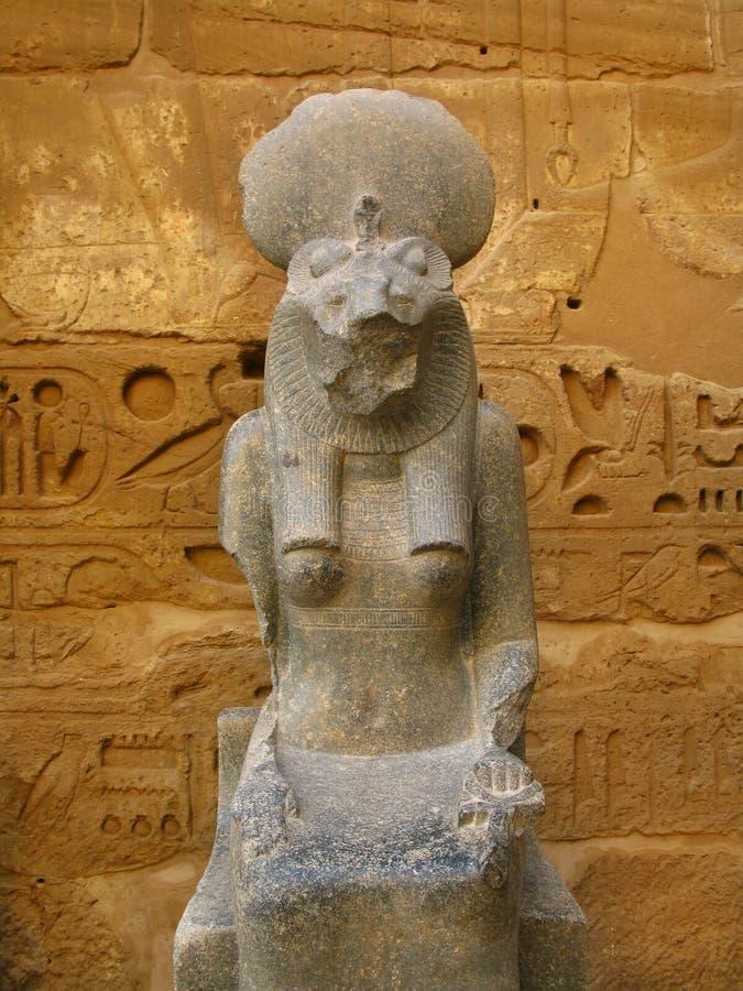 Statue of Sekhmet goddess. Medinet Habu, Luxor. Statue of Sekhmet goddess , the ancient egyptian lioness faced goddess, at the temple of Medinet Habu (dedicated royalty free stock photography