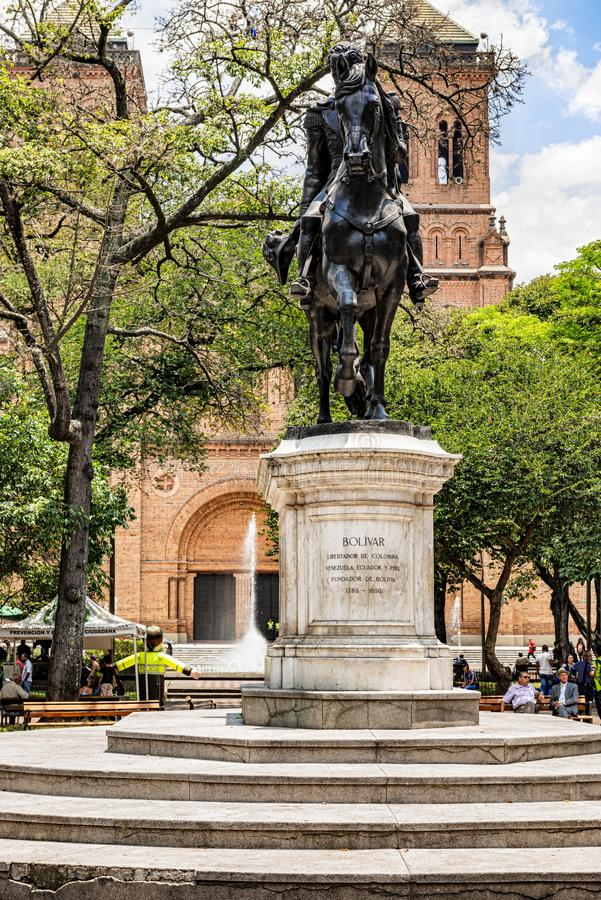 Statue of Simon Bolivar on the horse located at Bolivar Park in. Medellin, Colombia - March 26, 2018: Statue of Simon Bolivar on the horse located at Bolivar royalty free stock photos