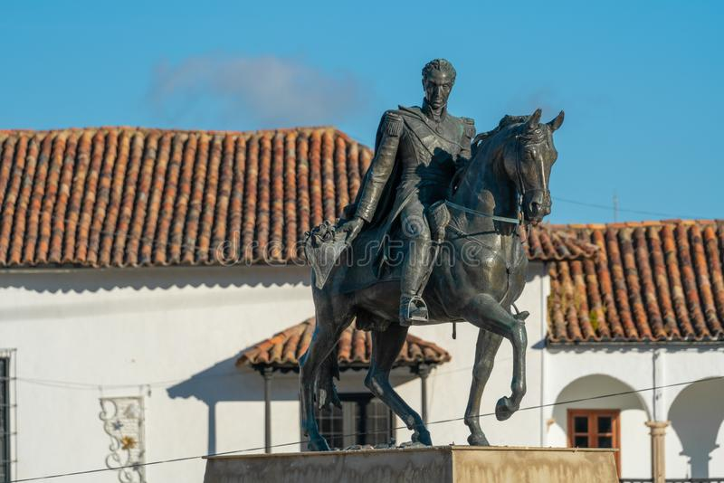 Statue of Simon Bolivar with a horse stock photo