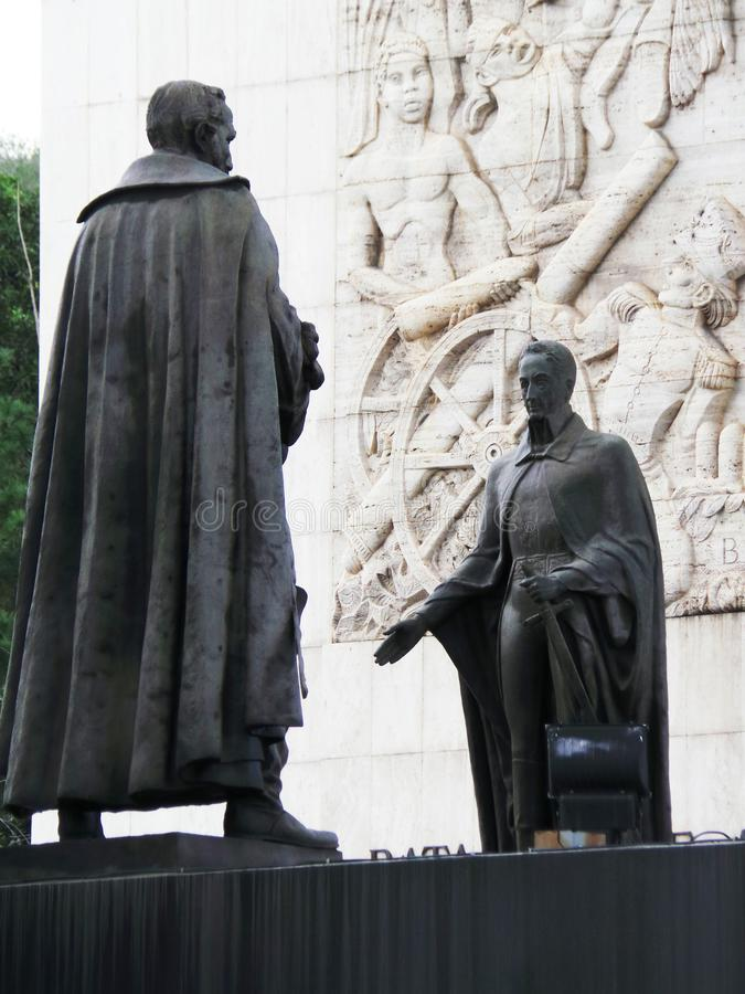 Statue of Simon Bolivar and other heroes of independece, Independence Monument, Los Proceres, Caracas, Venezuela. Statue of Simon Bolivar and other heroes of stock photo