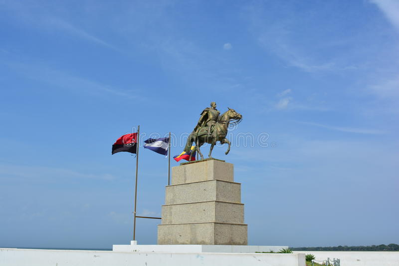 Statue of Simon Bolivar, at the pier of Managua, Nicaragua stock photography