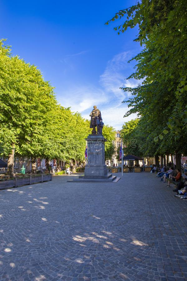 Statue of Simon Stevin and the park royalty free stock photo