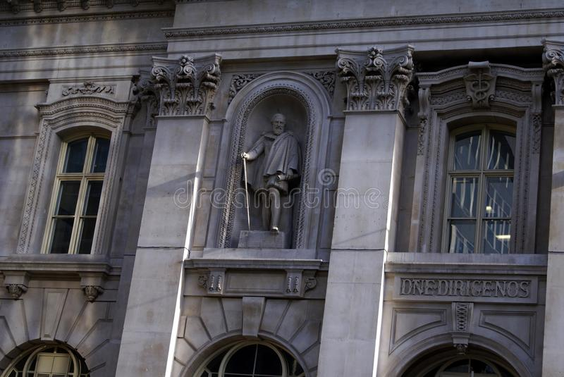 Statue of Sire Hugh Myddelton ( Middleton) , The Royal Exchange Building, London, England. Statue of Sir Hugh Myddelton (Middleton), 1st Baronet, who was a Welsh royalty free stock images