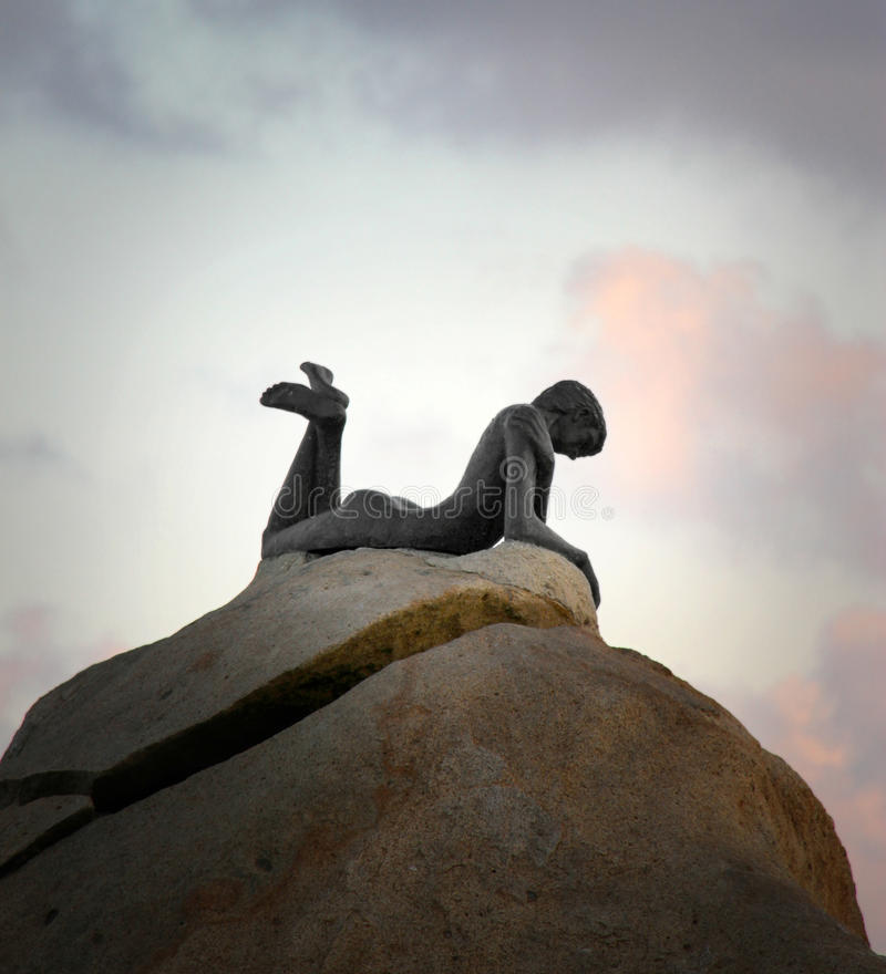 Statue of Siren on the rock in Acapulco stock photography