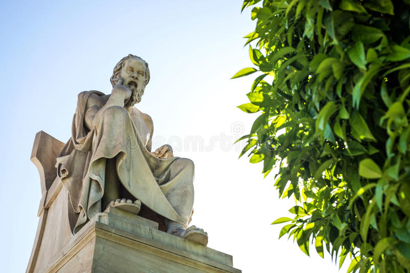 Statue of Socrates. Statue of ancient Greek philosopher Socrates in Athens royalty free stock images