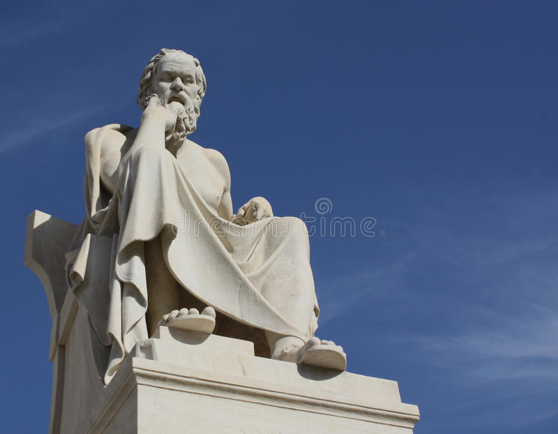 Statue of Socrates with copy space. Neoclassical statue of ancient Greek philosopher, Socrates, outside Academy of Athens in Greece, with copyspace royalty free stock photos