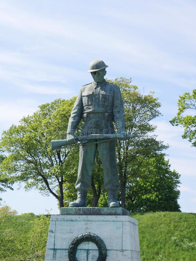 Statue of a soldier from the First World War stock photos