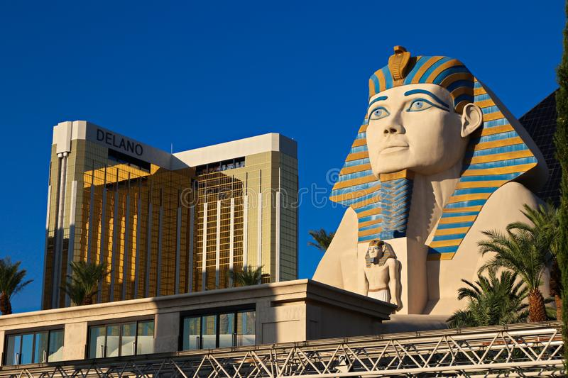 Statue of Sphinx and Mandalay Bay tram stock photography