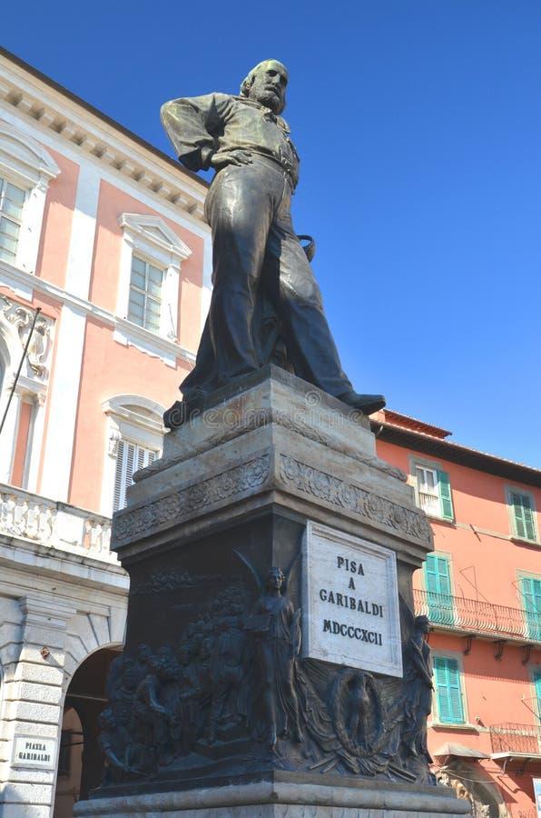 The statue and square of Giuseppe Garibaldi in Pisa, Italy stock image