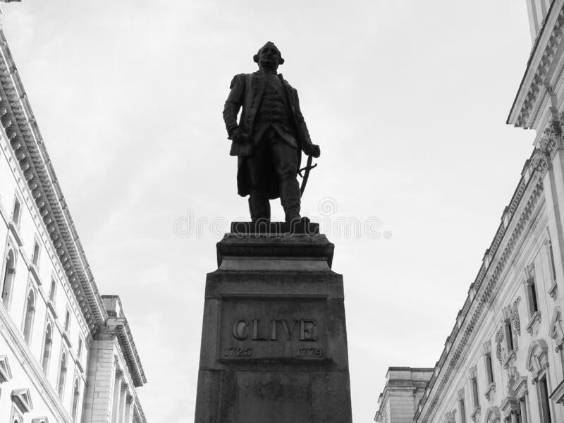 Clive of India statue in London, black and white. Statue of 1st Baron Robert Clive (aka Clive of India) commander in chief of British India in London, UK in royalty free stock photography