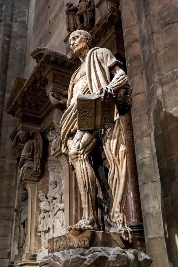 Statue of St. Bartholomew Flayed in the Duomo di Milano, Milan cathedral, Sculpture stock photo