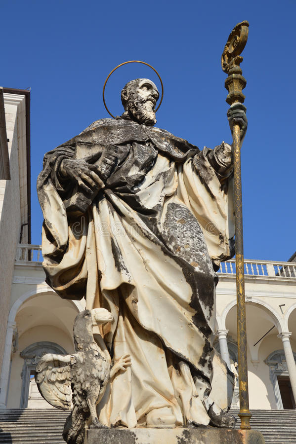 Statue of St Benedict stock photos