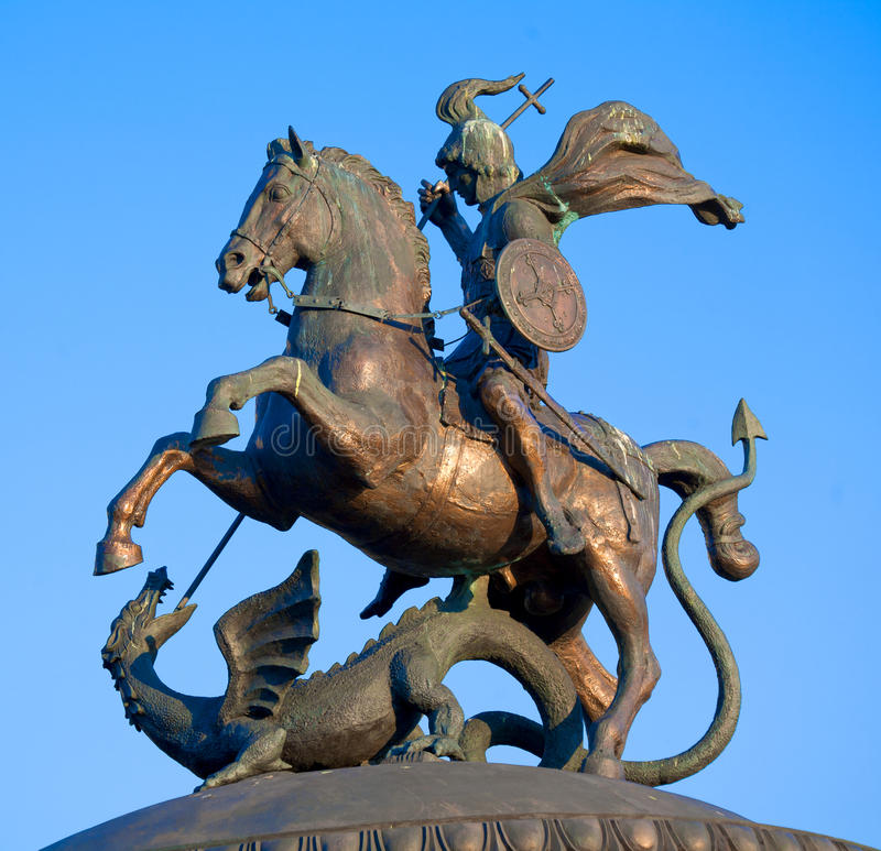 Statue of St. George. Patron of Moscow, Manezh square, Moscow, Russia stock images
