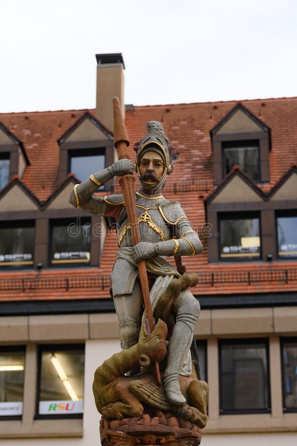 Statue of St George fighting with dragon, Ulm, Baden-Wuerttemberg, Germany stock image