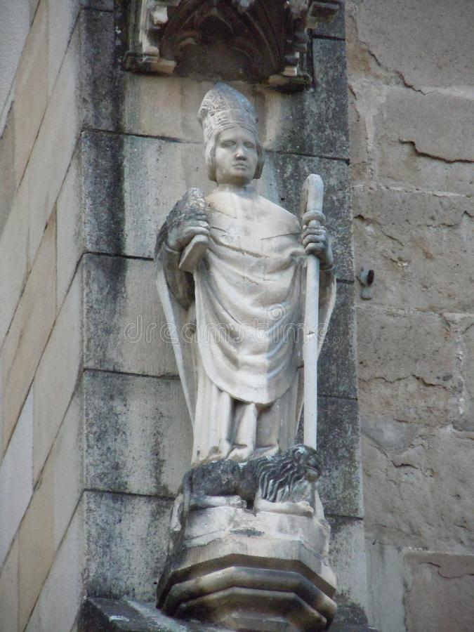 Statue of of St. Jerome 340 - 420 from the Black Church in Brasov. stock images