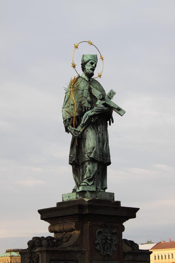 Statue of St. John of Nepomuk in Prague stock image